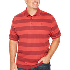 IZOD Short Sleeve Advantage Stripe Pique Polo Shirt- Big & Tall
