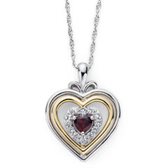 Garnet & Lab-Created White Sapphire Two-Tone Heart Pendant Necklace