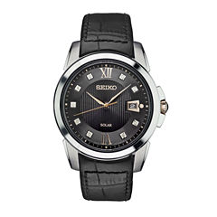 Seiko Mens Black Strap Watch-Sne427