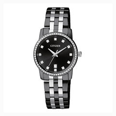 Citizen® Quartz Womens Black And Silver Tone Swarovski Crystal Accent Bracelet Watch Eu6037-57E