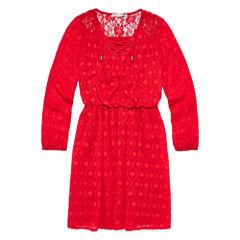Speechless® Long-Sleeve Orange Textured Chiffon Peasant Dress - Girls Regular Sizes