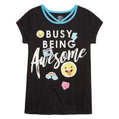 Emoji, Inc. Round Neck Short Sleeve Cap Sleeve Blouse - Big Kid Girls