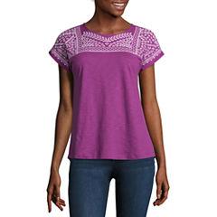 St. John's Bay Short Sleeve Crew Neck T-Shirt-Womens Petites