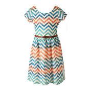 Speechless® Short-Sleeve Chevron Lace Skater Dress - Girls