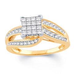 Womens 1/2 CT. T.W. Genuine Princess White Diamond 10K Gold Engagement Ring