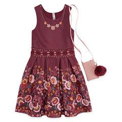 Knit Works Floral Border Sleeveless Skater Dress w/ Purse - Girls' 7-16