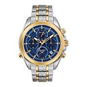 Bulova® Mens Two Tone Blue Dial Precisionist Chronograph Bracelet Watch 98B276