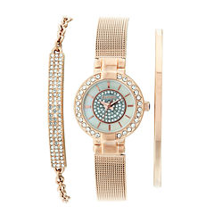 Elgin® Womens Rose Gold Tone Bracelet And Watch Set Eg16008RGST