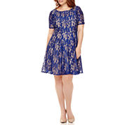 Danny & Nicole® Elbow-Sleeve Lace Fit-and-Flare Dress - Plus