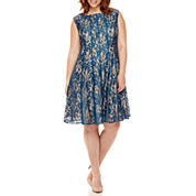 Danny & Nicole® Sleeveless Lace Fit-and-Flare Dress - Plus