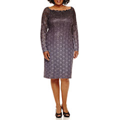 Blu Sage Long-Sleeve Scalloped Glitter Ombré Sheath Dress - Plus