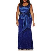 Blu Sage Sleeveless Sash Lace Gown - Plus