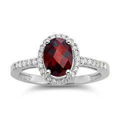 Garnet & Lab-Created White Sapphire Sterling Silver Halo Ring