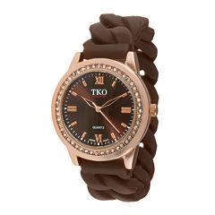 TKO ORLOGI Womens Crystal-Accent Chain-Link Brown Strap Silicone Stretch Watch