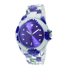 TKO ORLOGI Womens Purple Floral Print Bracelet Watch
