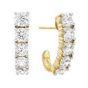Diamonart® 10K Yellow Gold Cubic Zirconia 3.0 C.T. T.W.. Graduated J Hoop Earrings
