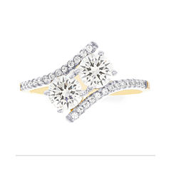 Diamonart® 10K Yellow Gold Cubic Zirconia 2.23 C.T. T.W.. 2 Stone Ring