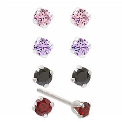 Sterling Silver Multi Color Cubic Zirconia Earring Sets