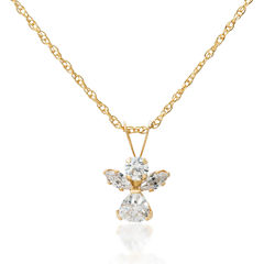 14K Gold White Cubic Zirconia Round Angel  Pendant Necklace