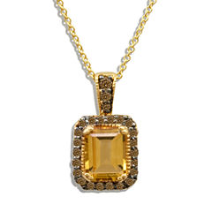 Le Vian® Grand Sample Sale Cinnamon Citrine® & 1/4 CT. T.W Chocolate Diamonds® in 14k Honey Gold™ Chocolatier® Pendant