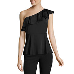 Worthington One Shoulder Ruffle Blouse