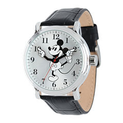 Disney Mickey Mouse Mens Black Leather Strap Watch