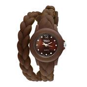 TKO ORLOGI Womens Crystal-Accent Braided Brown Silicone Strap Wrap Watch