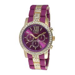 TKO ORLOGI Womens Crystal-Accent Purple Dial Multifunction-Look Bracelet Watch