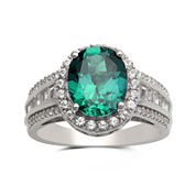 Lab-Created Emerald and White Sapphire Sterling Silver Ring