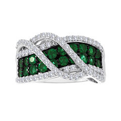 Lab-Created Emerald and White Sapphire Sterling Silver Crossover Ring