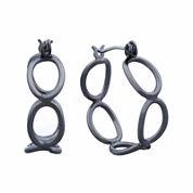 Liz Claiborne® Hypoallergenic Hematite Open Oval Hoop Earrings