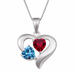 Personalized  Couple's Birthstone Heart Pendant Necklace