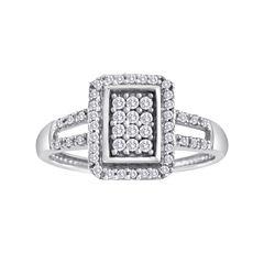 1/3 CT. T.W. Diamond 10K White Gold Rectangular Ring