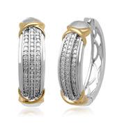 1/2 CT. T.W. Diamond Pavé Two-Tone Hoop Earrings