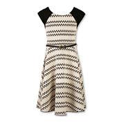 Speechless® Sleeveless Chevron Textured Knit Skater Dress - Girls Plus