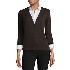 Worthington® Long-Sleeve Button-Front Cardigan - Tall