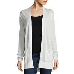 St. John's Bay® Long-Sleeve Ribbed Flyaway Cardigan Sweater