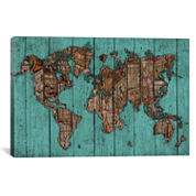 Wood Map #2 by Diego Tirigall Canvas Wall Art