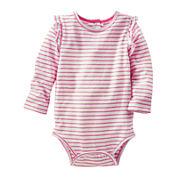 OshKosh B'gosh® Long-Sleeve Striped Knit Bodysuit - Baby Girls 3m-24m
