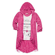 Self Esteem® 3/4-Sleeve Hooded Duster with Tank Top and Necklace - Girls 7-16