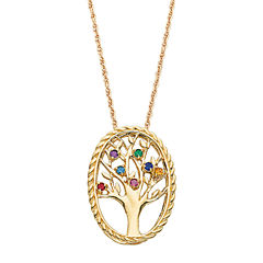 Personalized Birthstone Family Tree 14K Gold Over Brass Pendant Necklace
