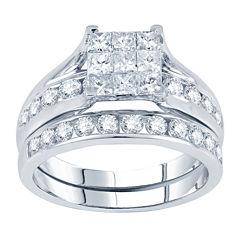 tw princess round diamond bridal ring set - Jcpenney Rings Weddings