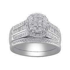Cherished Hearts™ 1 CT. T.W. Certified Diamond Princess-Cut and Round Bridal Ring Set