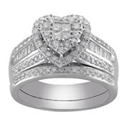 Cherished Hearts™ 1 CT. T.W. Certified Diamond Heart Bridal Ring Set