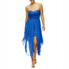 City Triangles® Strapless Sheer-Over-Lace High-Low Dress- Juniors