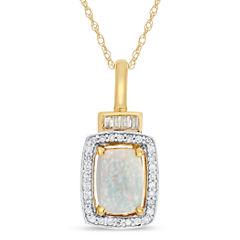 Womens Multi Color Opal 10K Gold Pendant Necklace