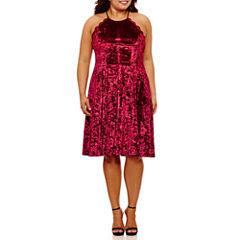 My Michelle Sleeveless Crushed Velvet Party Dress-Juniors Plus