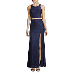 My Michelle® Sleeveless Lace Bar Back Long Slim Dress - Juniors