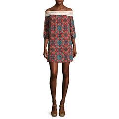 Trixxi® Spaghetti-Strap Cold-Shoulder Printed Chiffon A-Line Dress - Juniors