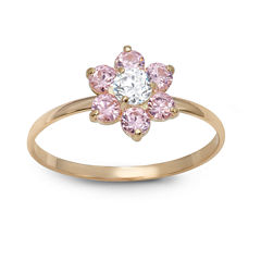 Flower-Shaped Girls 1/5 CT. T.W. Lab Created Pink Cubic Zirconia 10K Gold Delicate Ring